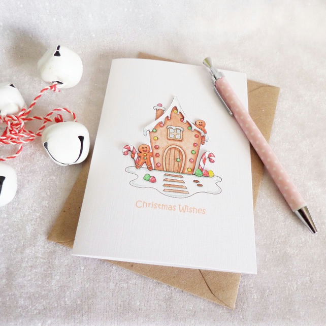 Gingerbread Men & Gingerbread House Christmas Card