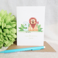 Lion Personalised 3rd Birthday Card