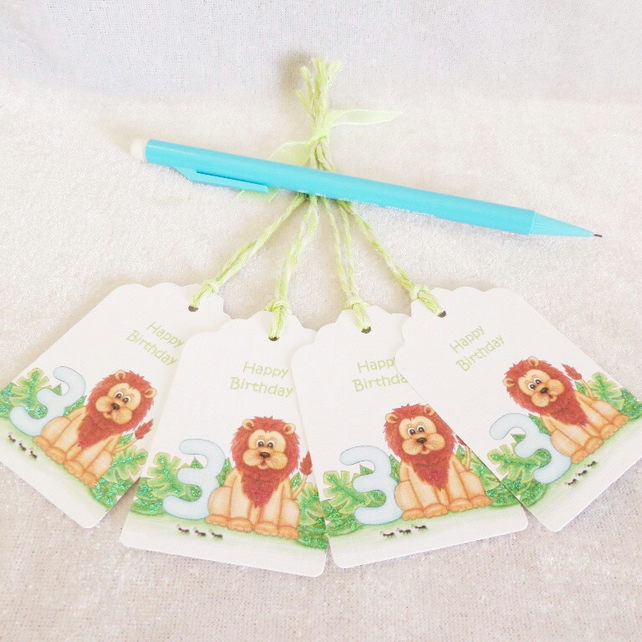 3rd Birthday Lion Gift Tags - set of 4 tags