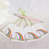 Rainbow 'Ellie' Elephant Gift Tags - set of 4 tags