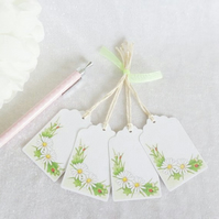 White Daisy Gift Tags - set of 4 tags