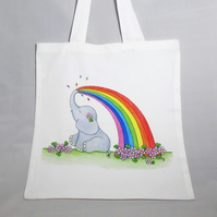 Rainbow Ellie Elephant Tote Bag - Eco Friendly Bag - Shopping Bag - Craft Bag