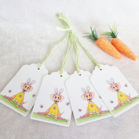 Easter 'Dash' Bunny Ears Gift Tags - set of 4 tags