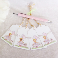 Ballerina Mouse Birthday Gift Tags - set of 4 tags