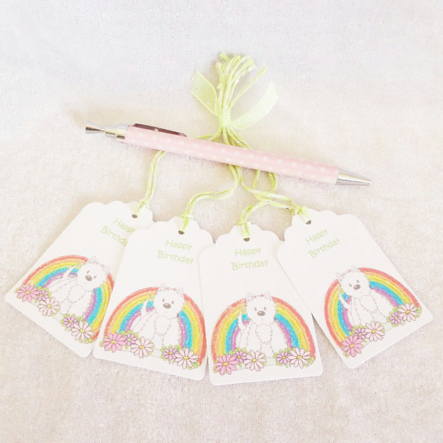 Rainbow Flower Westie Birthday Gift Tags - set of 4 tags