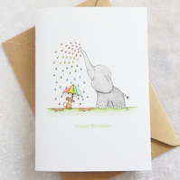 Rainbow Rain 'Ellie' Elephant Birthday Card - Personalised