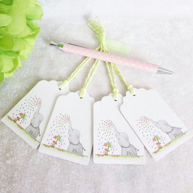 Rainbow Rain 'Ellie' Elephant Gift Tags - set of 4 tags