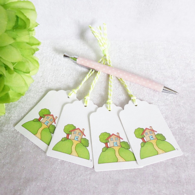 New Home Little House Gift Tags - set of 4 tags
