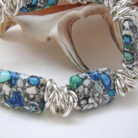 Dyed Turquoise and Silver Chain Bracelet