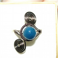 Blue Agate Wire Wrapped Adjustable Ring