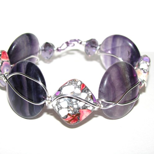 Purple Flourite and Dyed Turquoise Wire Wrapped Bracelet
