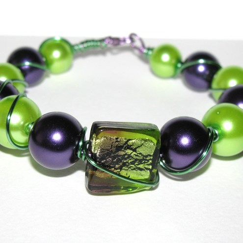 SALE Purple and Lime Wire Wrap Bracelet
