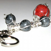 Red and Black Keyring or Bag Charm