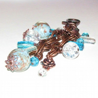 Blue and Copper Bag Charm or Key Ring