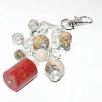 Coral Bagcharm or Keyring Red and Natural