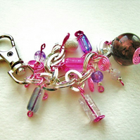 Pink Wired Swirls Bag Charm or Keyring