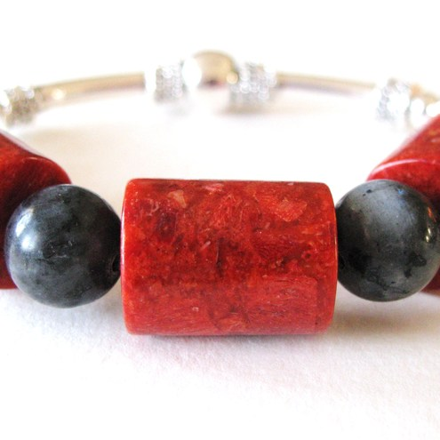 Red Coral and Obsidian Bracelet