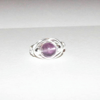 CUSTOM MAKE - Flourite with Silver Wire Wrap Ring