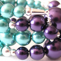 Purple and Teal Wrap Bracelet  or Cuff