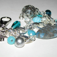 Turquoise and Silver Bag Charm or Keyring