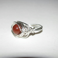 Gold Stone Wrapped Wire Ring
