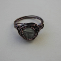Flourite Amethyst Wire Wrap Ring