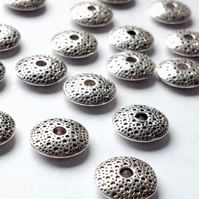 40x Tibetan Silver (antique silver) Donut or Abacus Beads