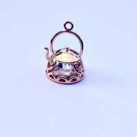 1x Rose Gold Cubic Zirconia Teapot Charm