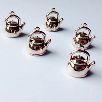 1x Light Gold Plated Tibetan Silver 3D Tea Pot Charm-001A1