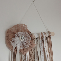 Shabby Chic Lace & Ribbon Wall Hanging Decoration- (A)