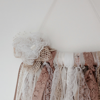 Shabby Chic Lace & Ribbon Wall Hanging Decoration- (C)