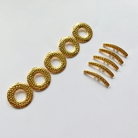 5x Gold Plated Tibetan Silver Double Strand Toggle & Bar Fastening