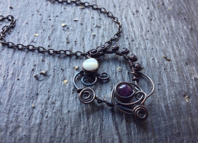 Copper Wire Wrapped Necklace- amethyst -blue gold stone- mother of pearl