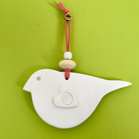 White Clay Bird Hanging Decoration- pink