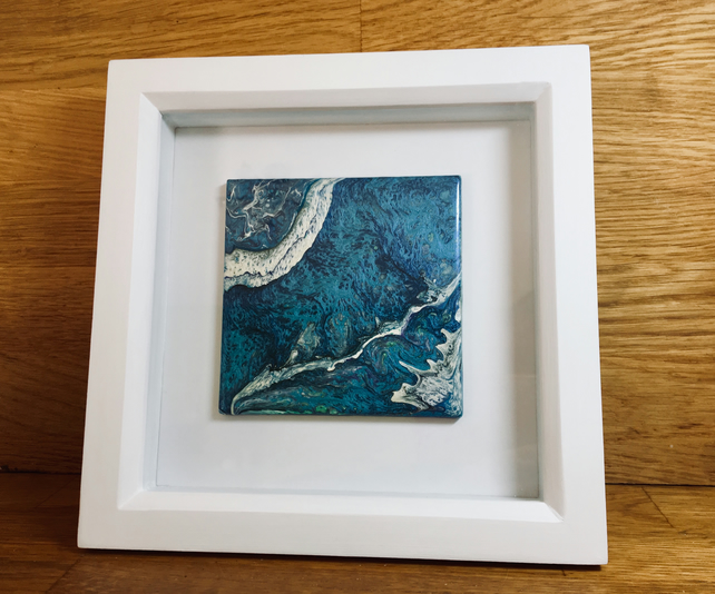 Framed hand painted Ceramic Tile - Unique Artwork