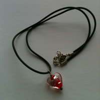Valentines Gift! -  Murano - style Red Heart Necklace