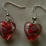 Valentines Gift!  - Murano - style Red Heart Earrings