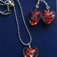 Valentines Gifts -Murano - style Red Heart Necklace and Earrings