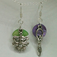 Goddess and the Green Man earrings
