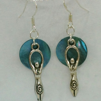 Goddess and Full Moon Earrings on Sterling Silver Findings