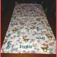 SALE PRICED - Table Runner - Padded Peace and Love Reindeer Fabric