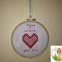 Cross Stitch Heart Hanging