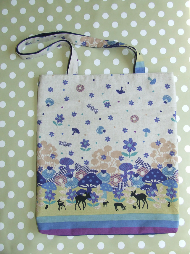 Funky Forest Blue Tote Bag