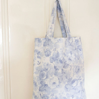 Blue Rose Tote bag, med, vintage fabric