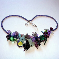 Purple Dragon Blossom Garland Necklace