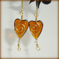 Dark Amber Heart Earrings