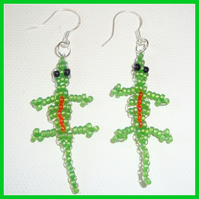Green Lizard Beaded Earrings