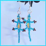 Electric Blue Lizard Earrings