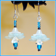 Blue Lagoon Flower Drop Earrings