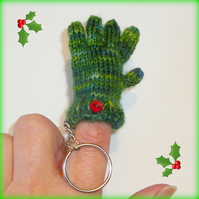 Tiny Green Glove Keyring